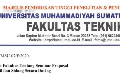 Surat Edaran Fakultas Tentang Seminar Proposal Seminar Hasil dan Sidang Secara Daring