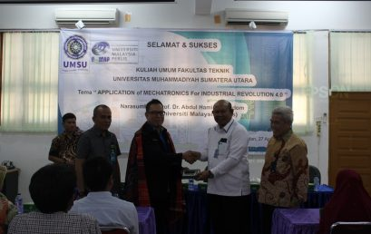 "Prof. Dr. Abdul Hamid Bin Adom (UniMAP) Beri Kuliah Umum   ""Application Of Mechatronics For Industrial Revolution 4.0"" di Fakultas Teknik UMSU"
